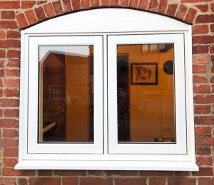 White uPVC flush sash window project